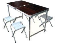 Набор стол + 4 стула - Коричневый (туристический для кемпинга и пикника)