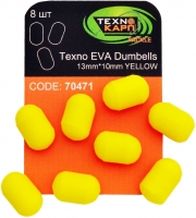 Texno EVA Dumbells 13mm*10mm yellow (Желтый) уп/8шт