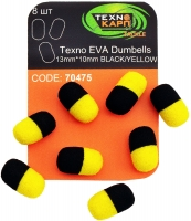 Texno EVA Dumbells 13mm*10mm black/yellow (Черно-желтый) уп/8шт