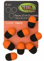 Texno EVA Dumbells 13mm*10mm black/orange уп/8шт