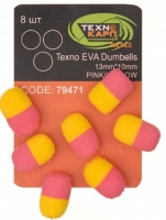 Texno EVA Dumbells 13mm*10mm pink/yellow уп/8шт