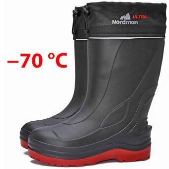 Сапоги Nordman Ultra до -70 ºС с флисовым вкладышем черные с красным