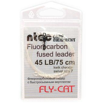 Лидкор Ntec Fly Cat флюорокарбоновый с быстросъёмным вертлюгом