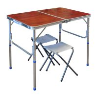 Стол + 2 стула - 60x90 - Коричневый (туристический для кемпинга и пикника)