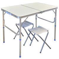 Стол + 2 стула - 60x90 - Белый (туристический для кемпинга и пикника)