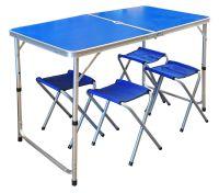 Набор стол + 4 стула - Синий (туристический для кемпинга и пикника)