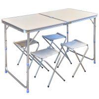 Набор стол + 4 стула - Белый (туристический для кемпинга и пикника)