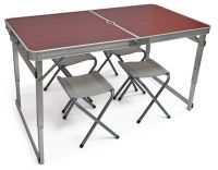 Туристический стол складной + 4 стула - Коричневый, Китай
