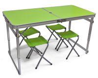 Туристический стол складной + 4 стула - Зеленый, Китай