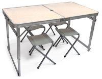 Туристический стол складной усиленный + 4 стула - Белый - Китай